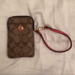 Coach Card/Phone Holder (coral)